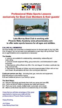 Professional Wake Sports Lessons - Exclusively for LMBC Members/Guests